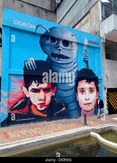 Street art mural in Bogota, Colombia. - Stock Image