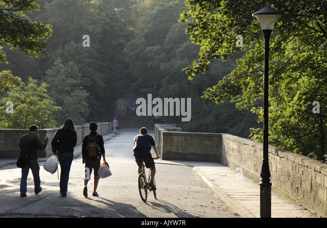 UK, England, Durham City, Wear River, South Bailey Bridge, students, - Stock Image