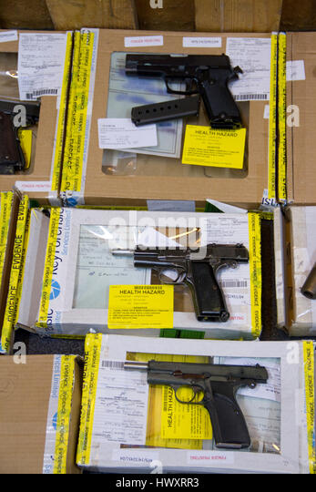 Firearms displayed at Suffolk Constabulary HQ, the largest recovery in the UK ever - Stock Image