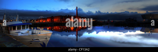 Albert Dock Liverpool Dusk Panorama from Wapping, Merseyside, North west England , UK - Stock Image