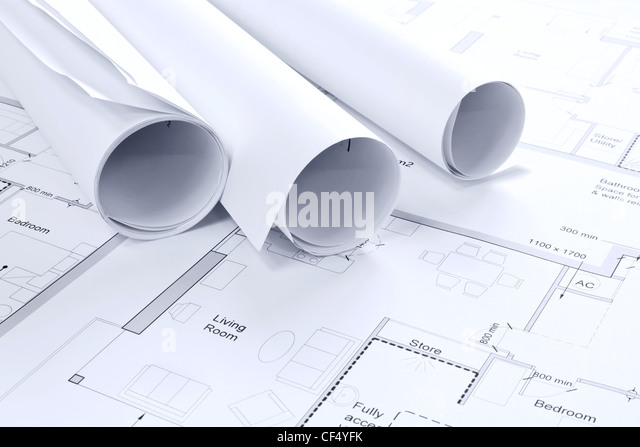 Still life photo of some architectural drawings - Stock-Bilder