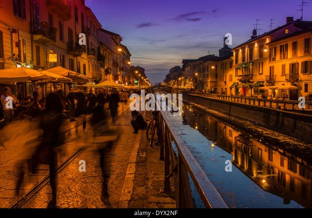 Naviglio Grande canal, Milan, Lombardy, Italy - Stock Image
