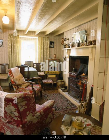 Interiors Livingroom Fireplace Traditional Stock s
