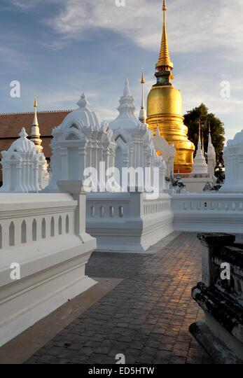 Mausoleums and stupa, Wat Suan Dok, Chiang Mai, Thailand - Stock Image