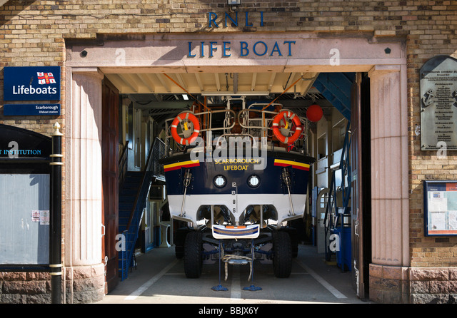 RNLI Lifeboat Station in South Bay, Scarborough, East Coast, North Yorkshire, England - Stock Image