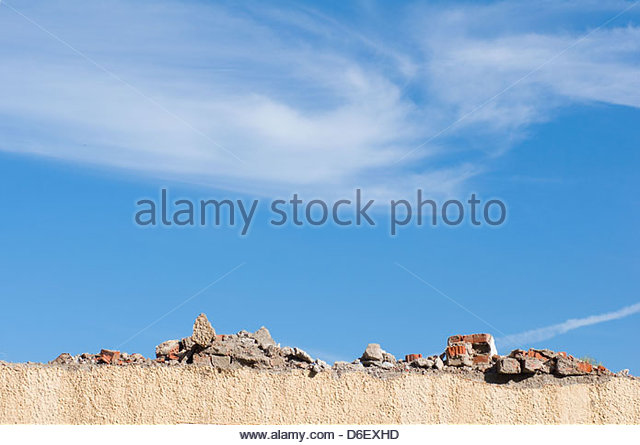 Demolition site wall building destruction old - Stock Image