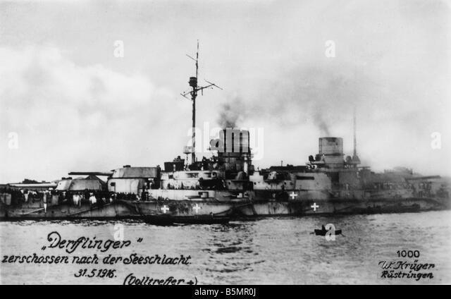 9 1916 5 31 A1 2 E World War One Jutland Skagerrak 1916 World War One 1914 18 Battle of Jutland Skagerrak 31 5 1 - Stock-Bilder