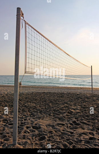 The net of a beach volleyball field - Stock Image