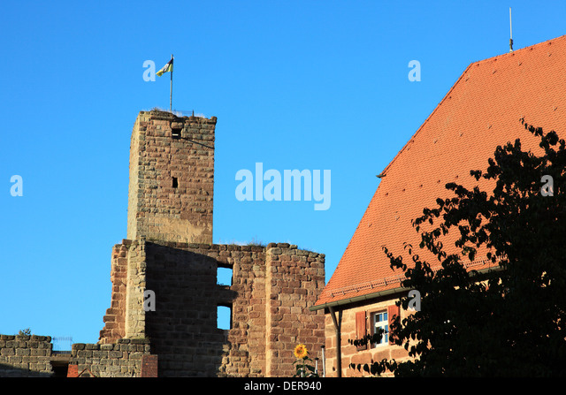 remains Castle Hilpoltstein at the city of Hilpoltstein, Middle Franconia, Franconia, Bavaria, Germany. Photo by - Stock Image