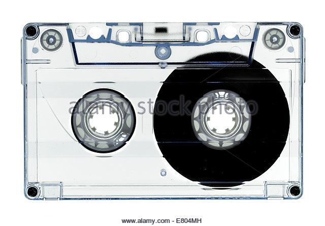 Old fashion, cassette tape isolated on white - Stock Image