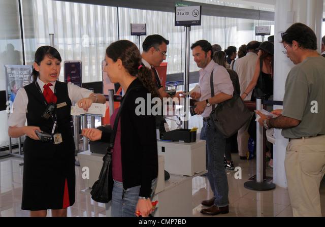 Santiago Chile Comodoro Arturo Merino Benítez International Airport SCL passenger terminal flight gate boarding - Stock Image