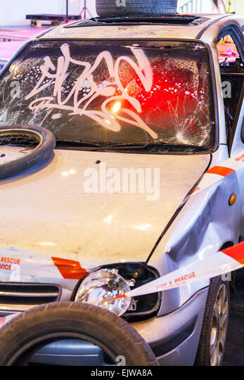 car accident wreckage vandalised vandalized smash smashed up wright off recked wreaked dents dented broken - Stock Image