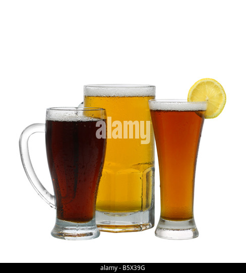 Assortment of beer cutout isolated on white background - Stock Image