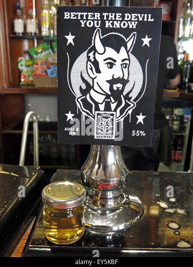 Better The Devil You Know Real Ale with taster bottle to show colour - Stock Image