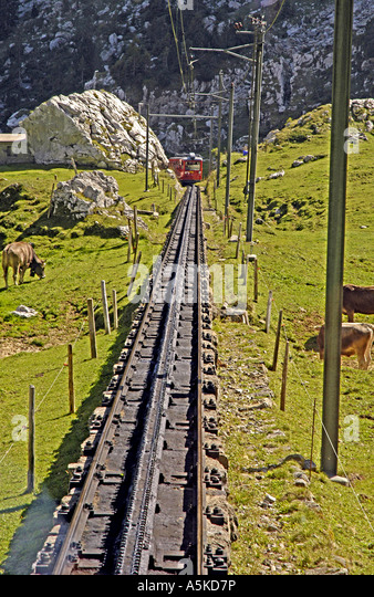 Switzerland Mount Pilatus tram car rail tracks Lucerne Luzern - Stock Image
