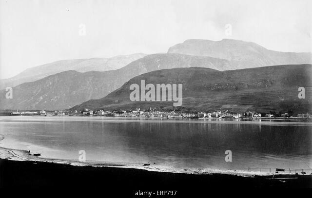 Fort William and Ben Nevis, Scotland,  in 1880 - Stock-Bilder