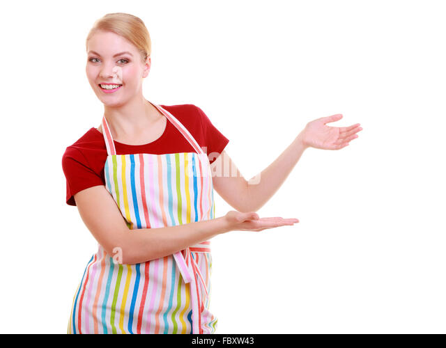 Happy housewife kitchen apron or small business owner entrepreneur shop assistant waitress making inviting welcome - Stock-Bilder