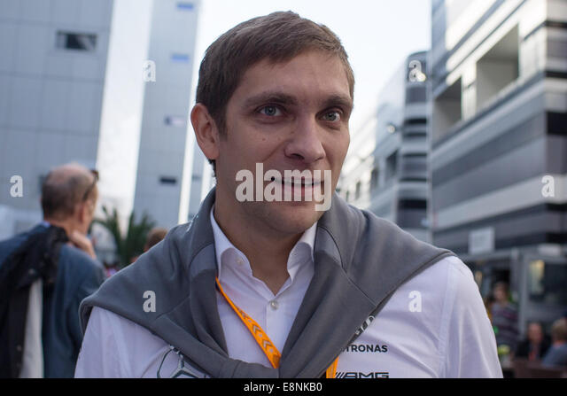 Sochi, Russia. 12th Oct, 2014. Former F1 driver Vitaly Petrov seen at the F1 Paddock ahead of the 2014 Formula One - Stock Image