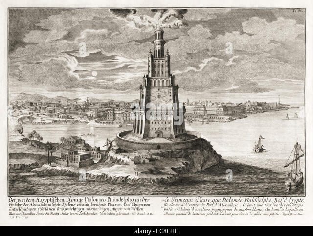 Pharos of Alexandria, one of the Seven Wonders of the Ancient World. See description for more information. - Stock Image