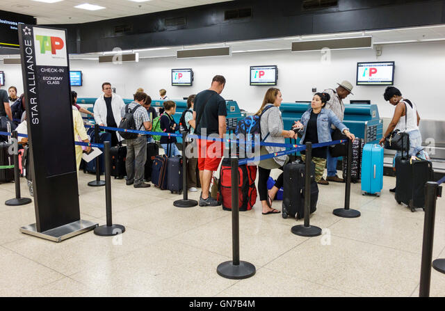 Florida Miami Miami International Airport MIA aviation terminal TAP Portugal Airline Company Portuguese carrier - Stock Image