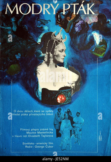 The Blue Bird. Original Czechoslovak movie poster for American-Soviet film with Elizabeth Taylor from 1976. - Stock Image