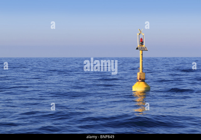 floating yellow beacon blue sea ocean in Mediterranean - Stock-Bilder