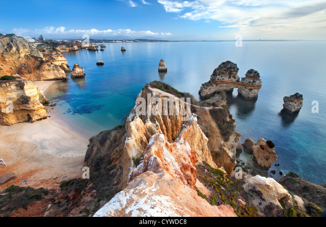 Coastline of the Algarve near Lagos, Portugal. - Stock-Bilder