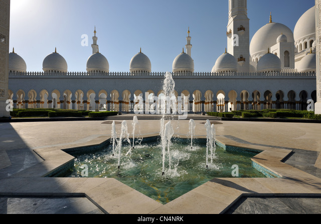 United Arab Emirates, Abu Dhabi, Sheikh Zayed Bin Sultan Al Nahyan Mosque - Stock Image