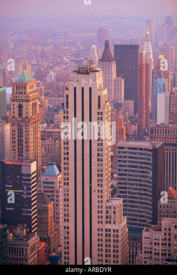 Over Manhattan in New York city - Stock Image