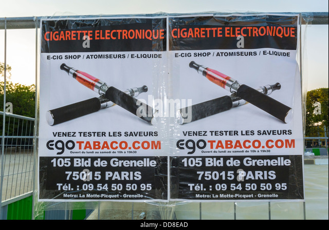 Paris, France, French Advertising Poster, Outside, for Electronic Cigarette - Stock Image