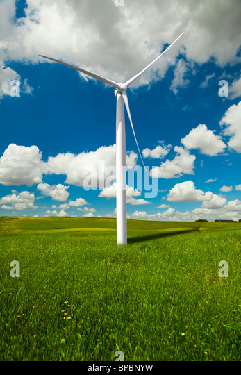 Clean energy being generated by a windmills park - Stock Image