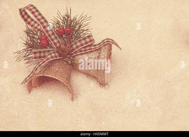 Grunge style background with Christmas bell decorations - Stock Image