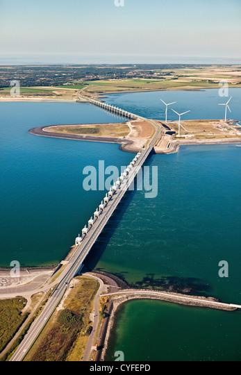 The Netherlands, Kamperland, Oosterschelde Flood Barrier. Part of the Delta Works. Aerial. - Stock Image