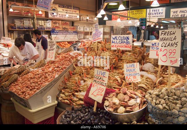 Shrimp fish market pike place stock photos shrimp fish for Pure food fish market