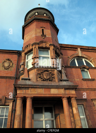 Warrington Police Headquarters Building showing tower in red stonework, Cheshire Constabulary Force - Stock Image