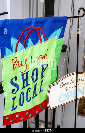 Beaufort South Carolina Historic Downtown stores shops banner buy local - Stock Image