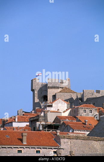 Dubrovnik Croatia castle Old Town Walled City old town medieval walled city - Stock Image