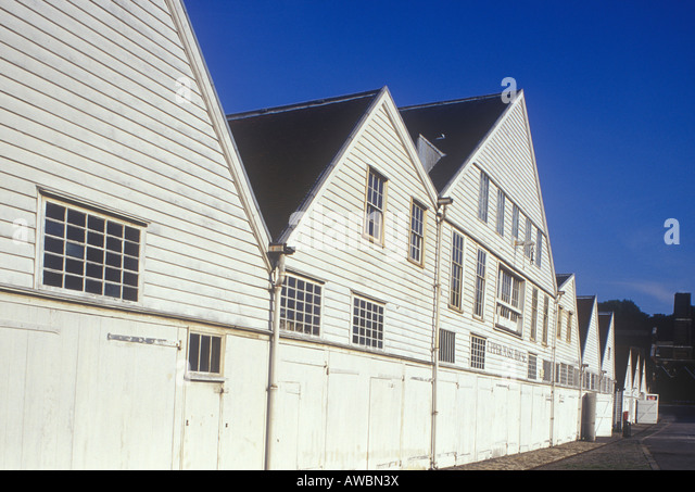 Royal Naval Dockyards Chatham Kent view of the Mast House Mould Loft Wheelwright Shop - Stock Image