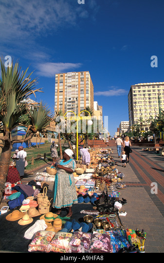 South Africa Durban craft sellers near The Golden Mile - Stock Image