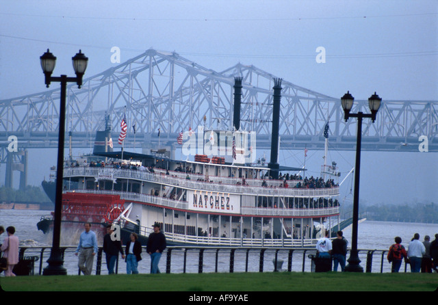New Orleans Louisiana Cajun Country Mississippi River Natchez Riverboat Greater New Orleans Bridge beyond - Stock Image