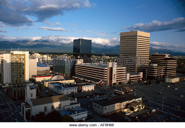 Alaska Anchorage state's largest city August afternoon cityscape - Stock Image