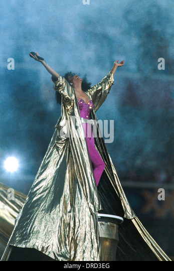 Diana Ross performing during half time at the1996 Super Bowl XXX, Dallas Cowboys vs.Pittsburgh Steelers - Stock Image