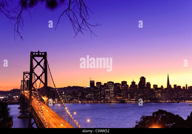 Usa, California, San Francisco, Oakland Bay Bridge and City Skyline - Stock Image