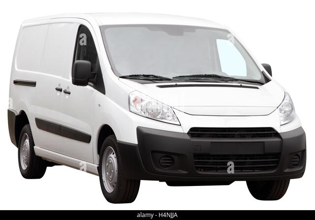Small compact minivan isolated on a white background. - Stock Image