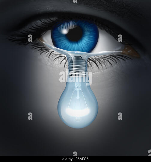 Depression therapy concept as a depressed human eye crying a tear shaped as a light bulb as a metaphor for solutions - Stock-Bilder