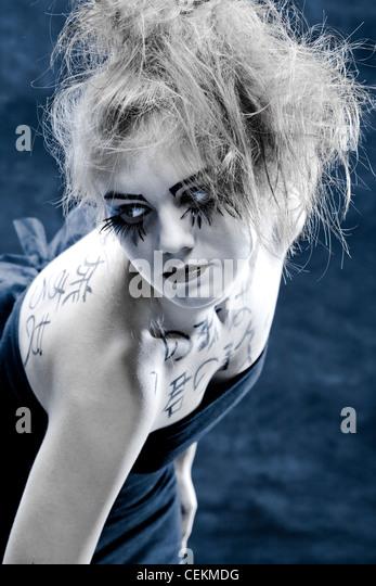 girls face with original make-up - fake eyelashes, - Stock Image