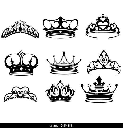 A vector illustration of crown icon sets - Stock Image