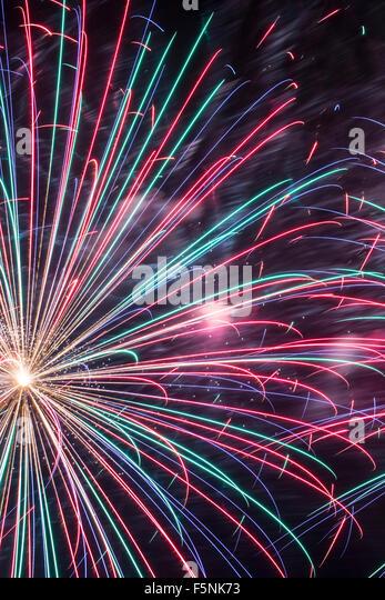 Fireworks, Albuquerque International Balloon Fiesta, Albuquerque, New Mexico USA - Stock Image