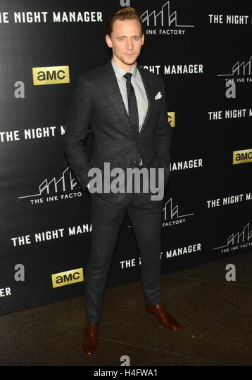 Tom Hiddleston arrives for the Premiere Of AMC's 'The Night Manager' held at DGA Theater on April 5, - Stock-Bilder