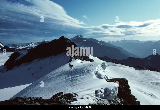 On the Mittel Hintereis Spitze, Ötztal Alps, Austria - Stock Image